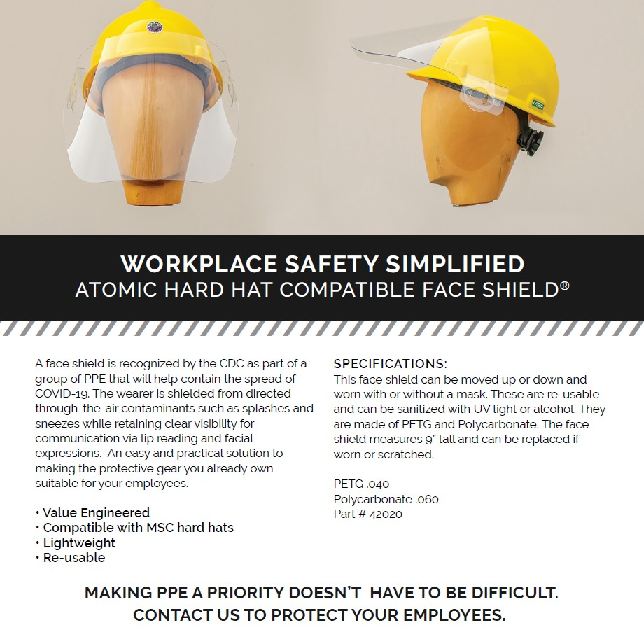 HARD HAT FACE SHIELDS